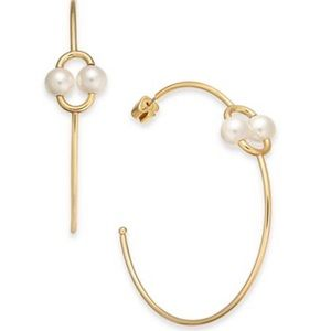 NEW! Kate Spade skinny gold hoop earrings w pearls